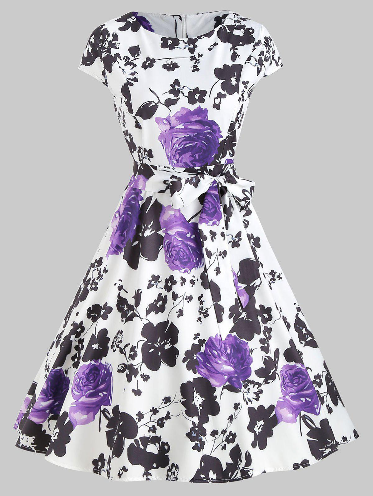 Discount Vintage Floral Print High Waist Flare Dress