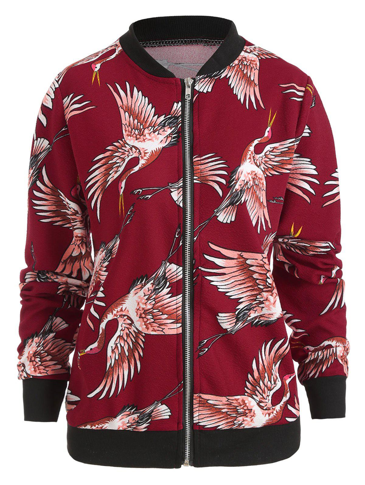 Discount Crane Print Zip Up Jacket
