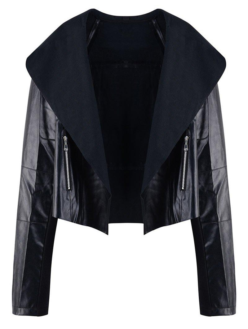 Shops Turn Down Collar Plus Size Zip Embellished Jacket