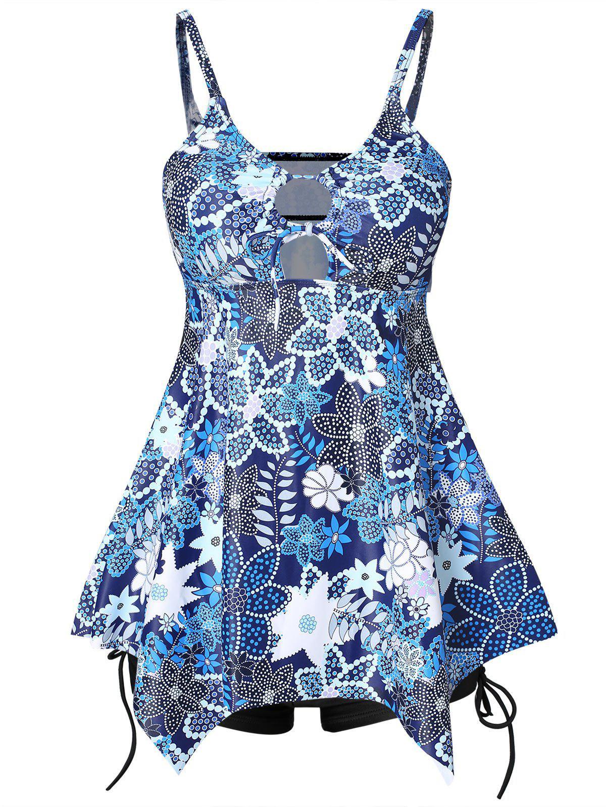 Latest Floral Print Asymmetrical Tankini with Shorts