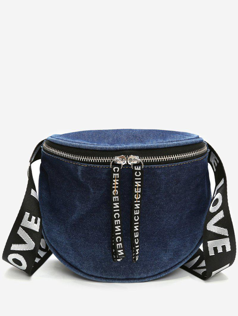 Online Letter Print Wide Strap Denim Shoulder Bag