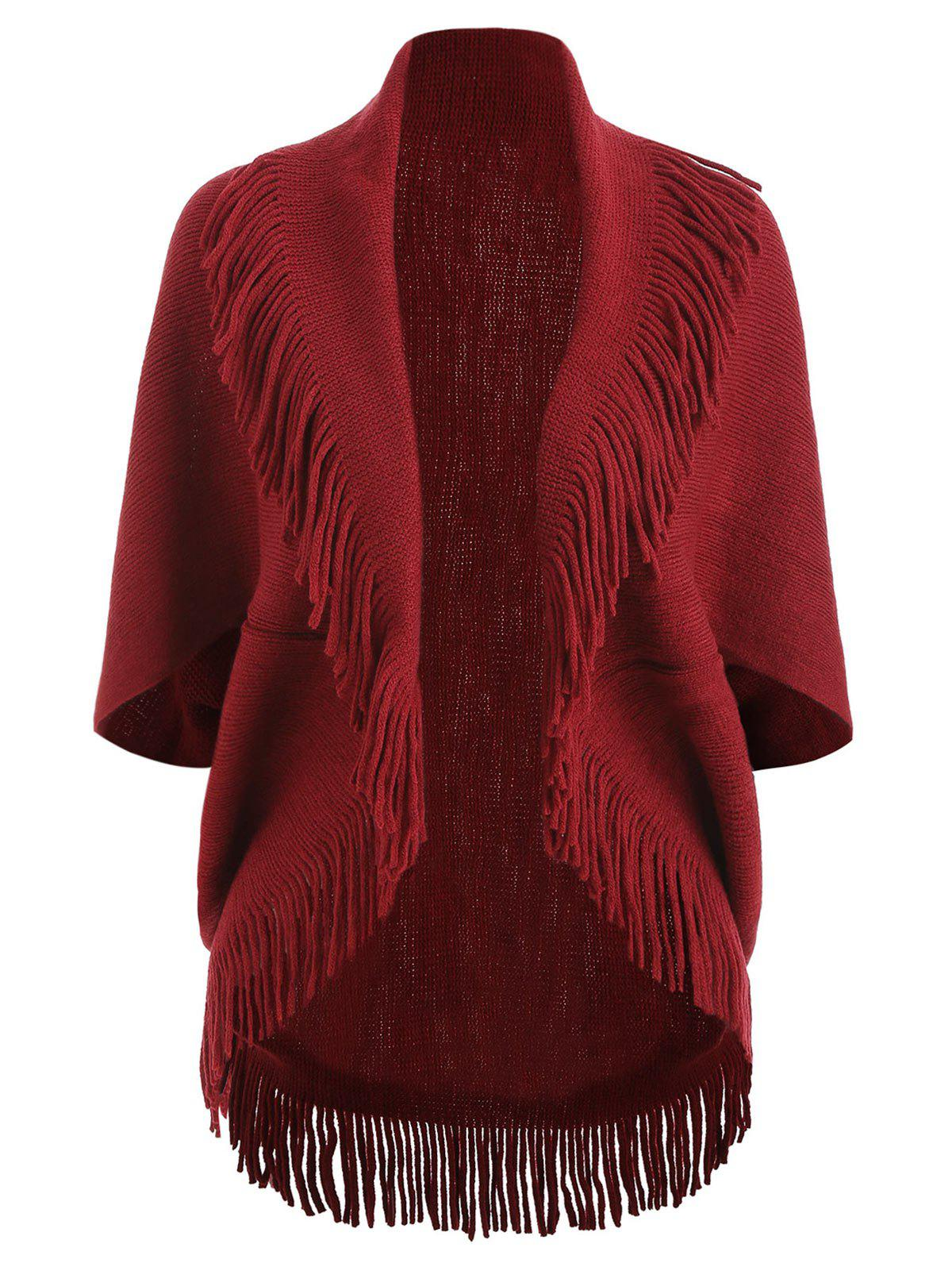 Fringe Short Sleeve Knit Cardigan, Red wine