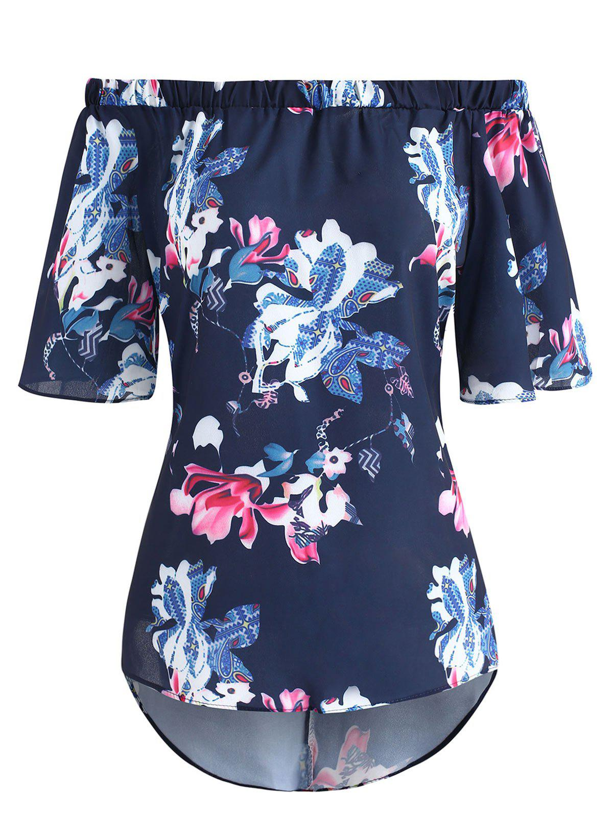 Affordable Off The Shoulder High Low Floral Print Top
