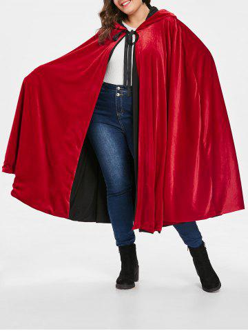 Plus Size Hooded Self Tie Cape Coat - LAVA RED - ONE SIZE