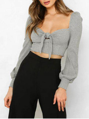 Knotted Long Sleeve Crop Top