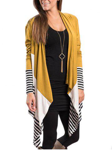 Drape Front Color Block Striped Cardigan