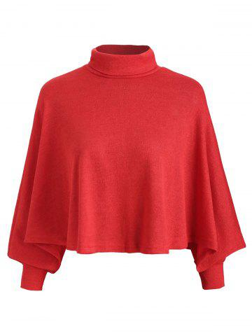 Turtleneck Asymmetrical Cape Sweater