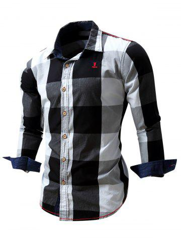 Embroidery Logo Detail Checked Long Sleeve Shirt