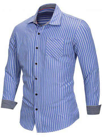 Pocketed Stripe Print Long Sleeve Button Up Shirt