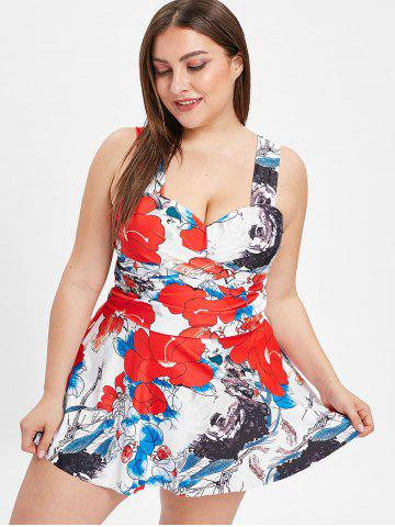 Criss Cross Plus Size Floral Tankini Set