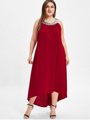 Round Neck Plus Size Sequin Embellished Maxi Dress