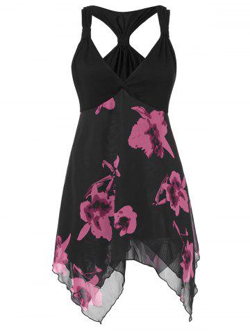Floral Knotted Layered Asymmetrical Plus Size Tank Top