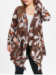 Open Front Plus Size Printed Coat -