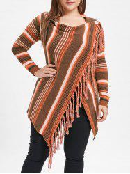Fringe Embellished Plus Size Striped Panel Sweater -