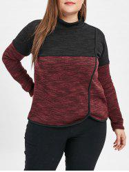 Mock Neck Plus Size Two Tone Sweatshirt -