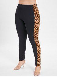 Leopard Panel Plus Size Elastic Waist Leggings -