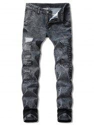 Vintage Zigzag Cutting Patchwork Snow Jeans -
