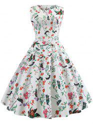 Floral and Bird Print Sleeveless Vintage Dress -