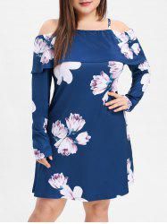 Plus Size Open Shoulder Printed Cami Dress -