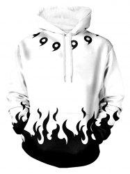 Flame Print Pouch Pocket Long Sleeve Hoodie -