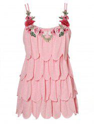 Plus Size Embroidery Scalloped Layered Tank Top -