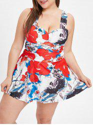 Criss Cross Plus Size Floral Tankini Set -
