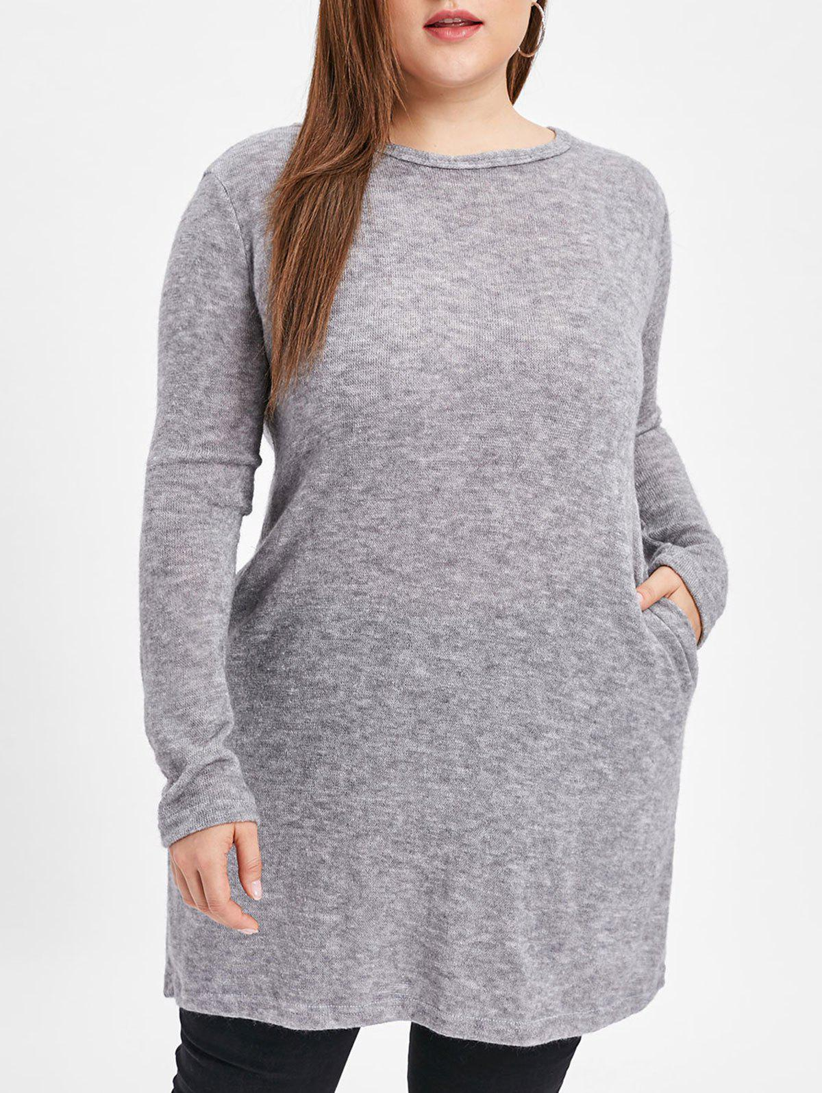 Affordable Round Neck Plus Size Longline Pullover Sweater