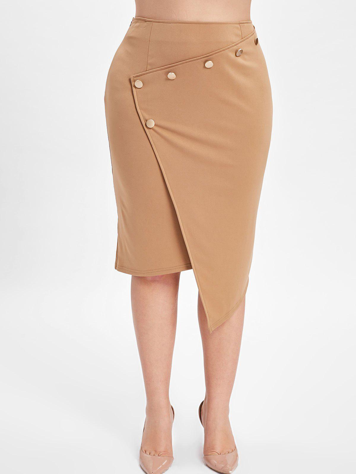 Fancy Button Embellished Plus Size Asymmetrical Skirt