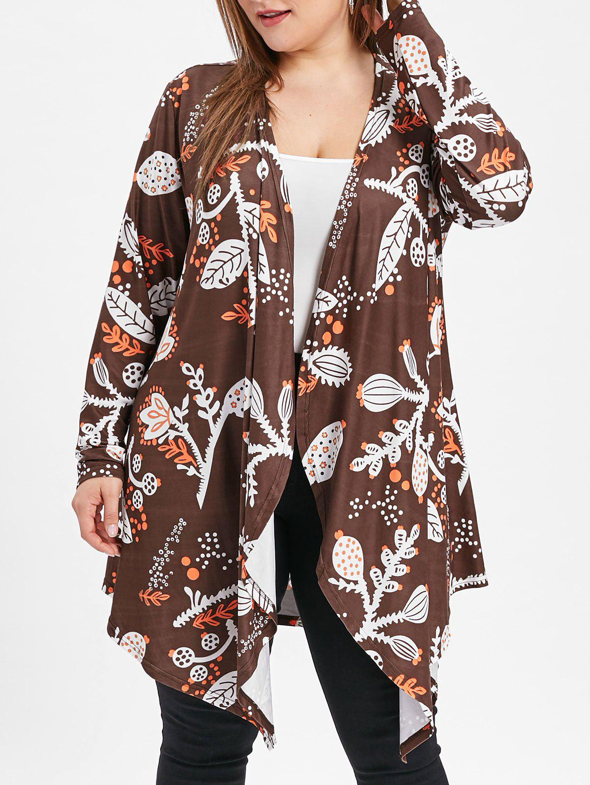 Outfits Open Front Plus Size Printed Coat