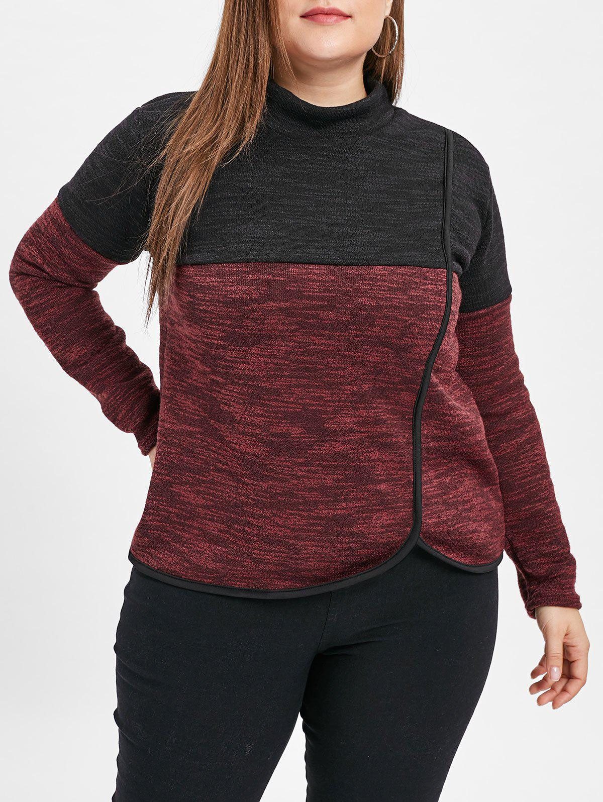 Online Mock Neck Plus Size Two Tone Sweatshirt