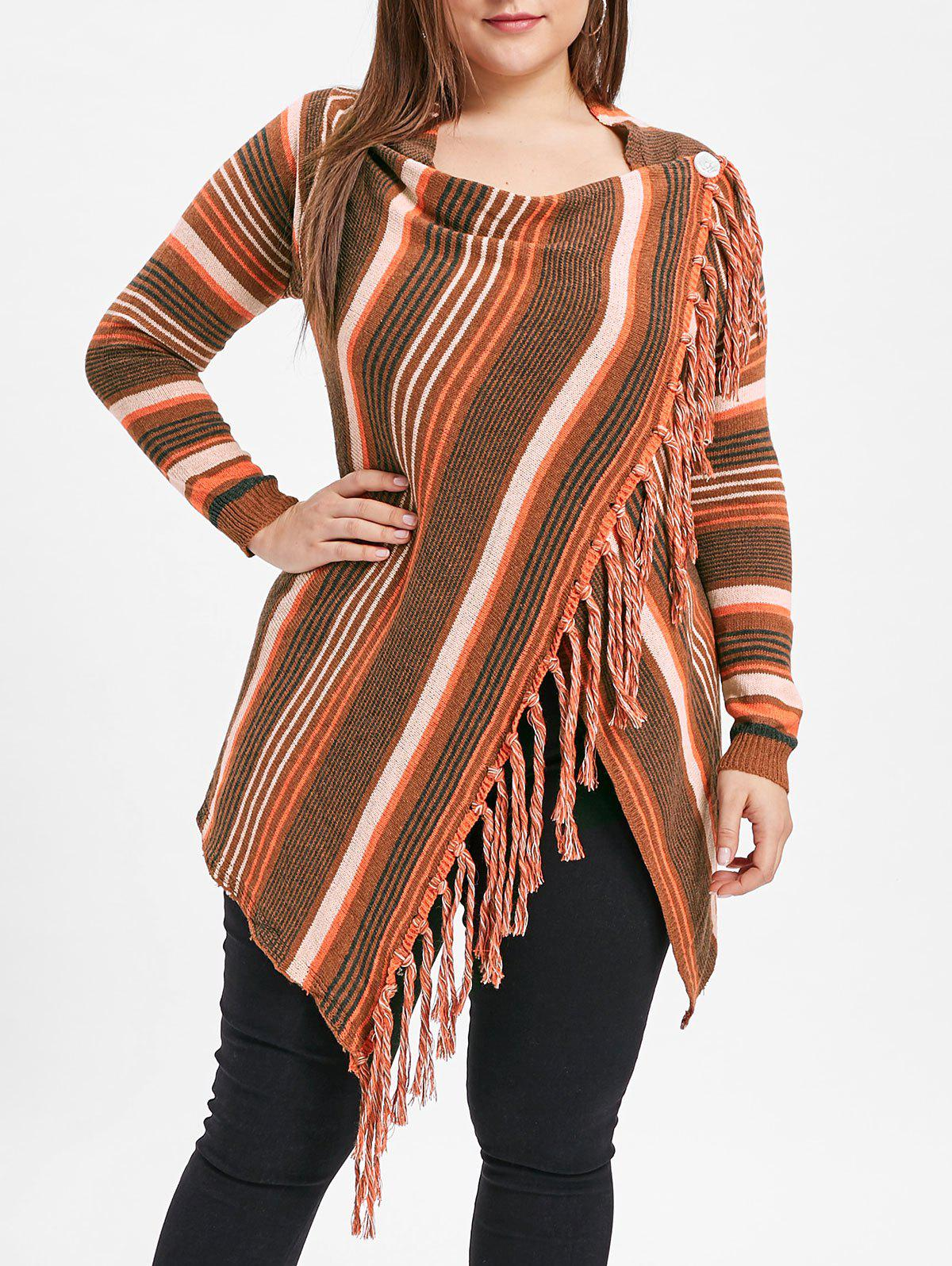 Sale Fringe Embellished Plus Size Striped Panel Sweater