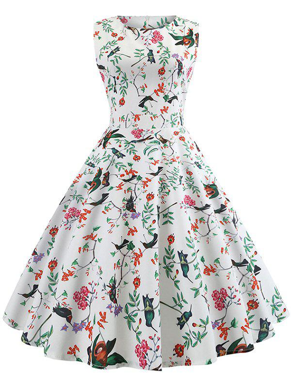 Outfit Floral and Bird Print Sleeveless Vintage Dress
