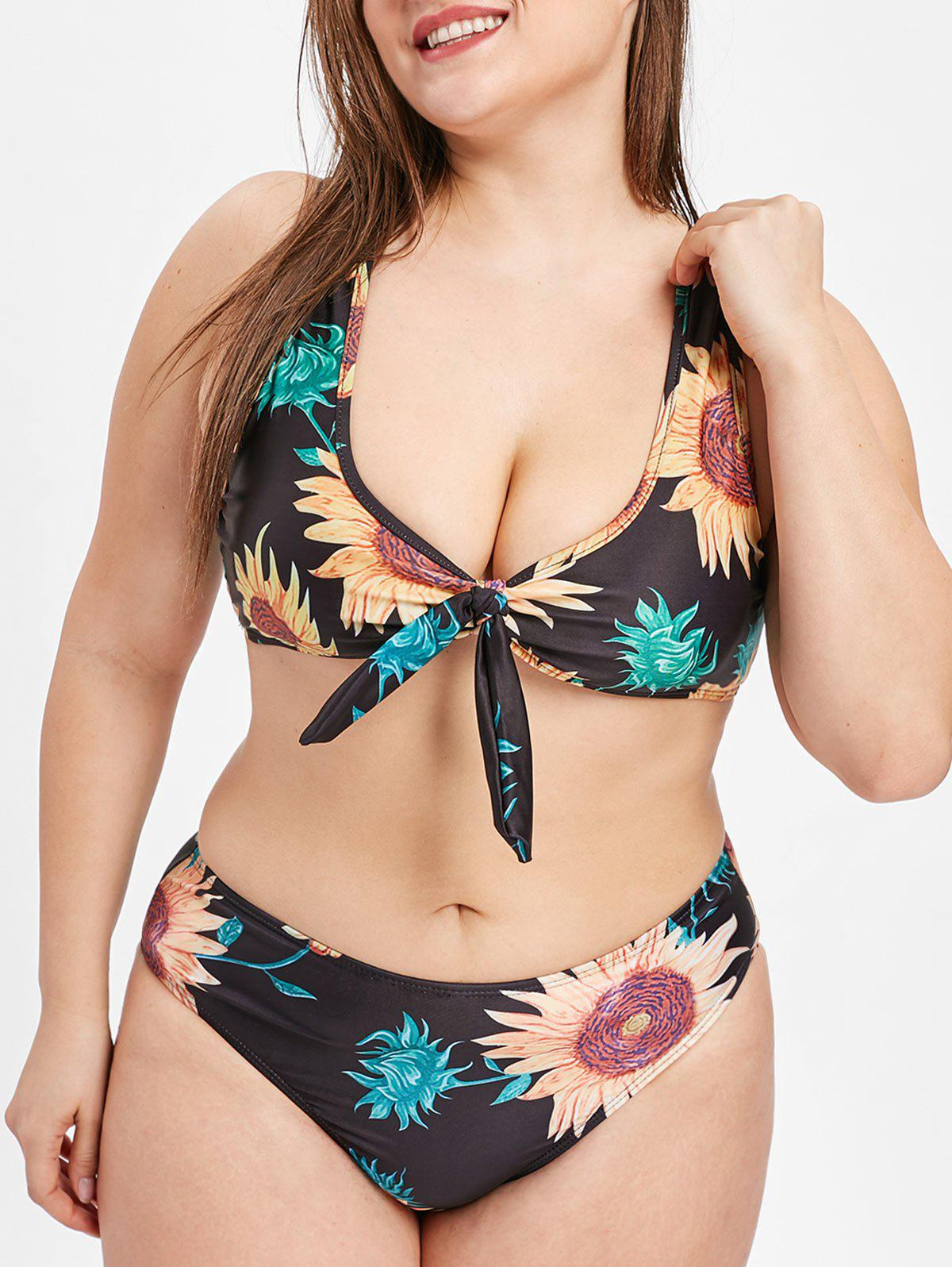 d367d074fdec8 2019 Sunflower Print Plus Size Knotted Bikini Set