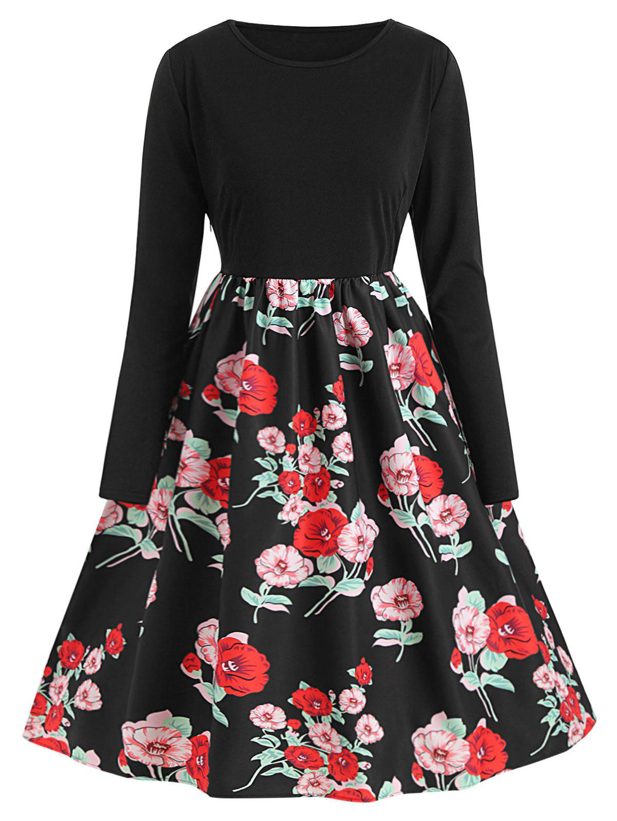Trendy Plus Size Vintage Floral Print Fit and Flare Dress