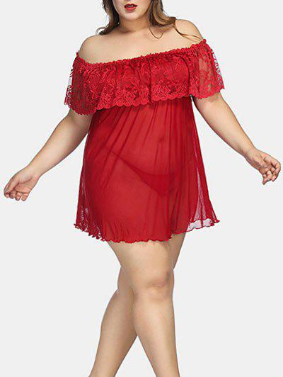 Affordable Plus Size Off The Shoulder Lingerie Babydoll