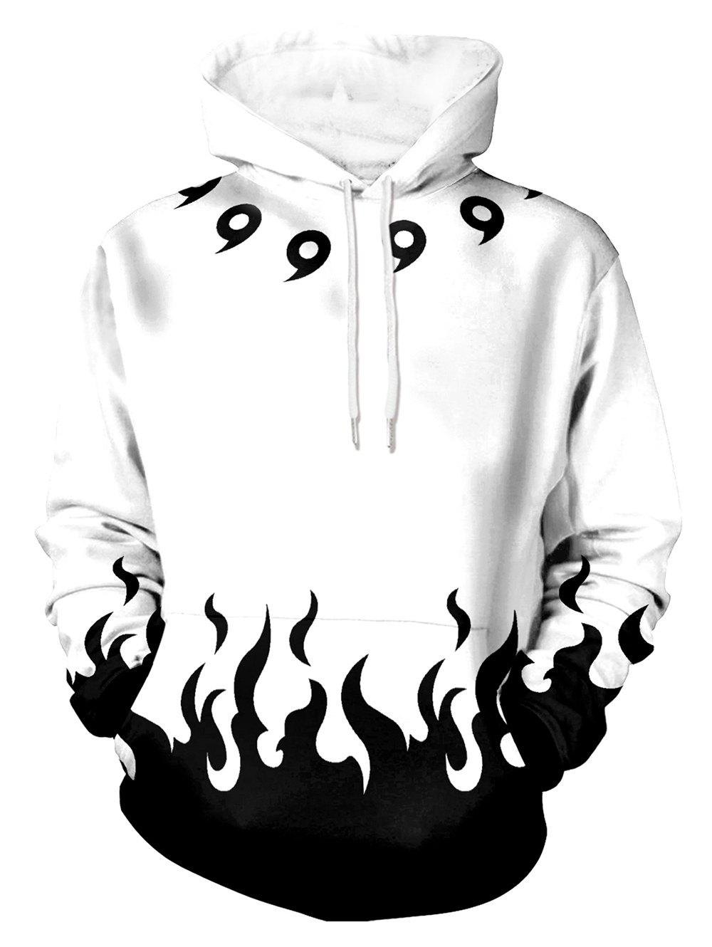 Chic Flame Print Pouch Pocket Long Sleeve Hoodie
