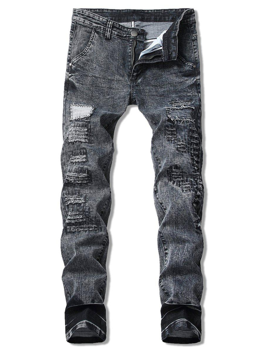 Cheap Vintage Zigzag Cutting Patchwork Snow Jeans