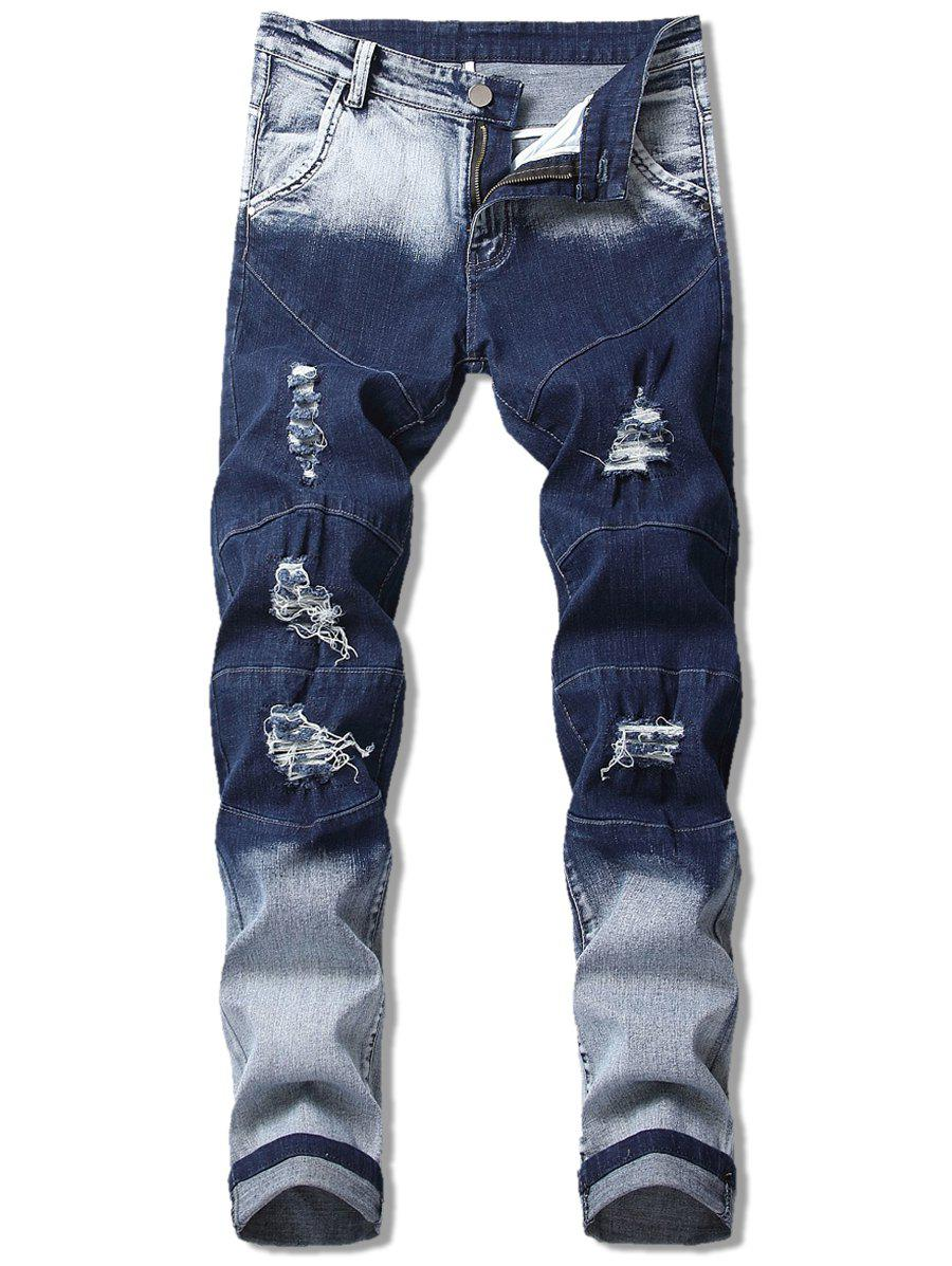 Cheap Seam Detail Ombre Ripped Jeans