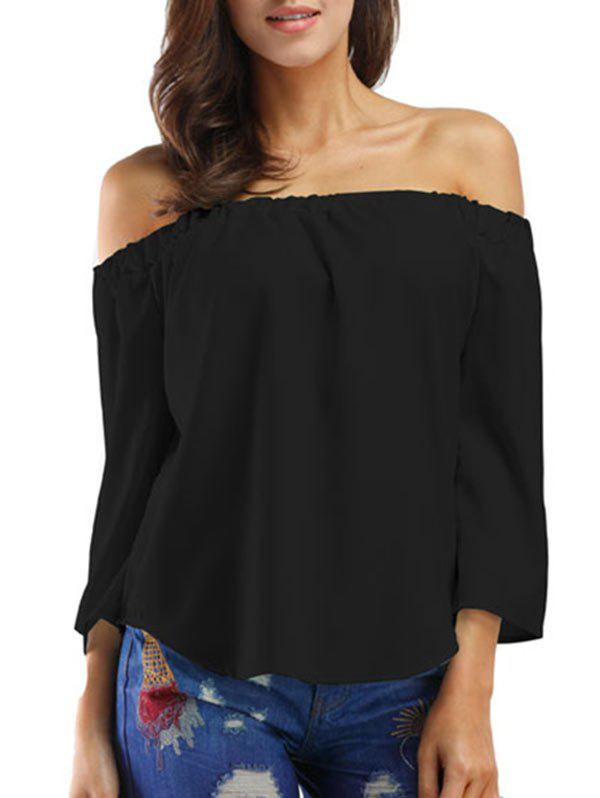 Chic Bowknot Off The Shoulder Solid Top