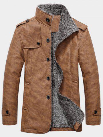 Epaulet Design Single Breasted Stand Collar Coat