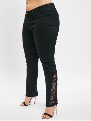 Lace Panel Plus Size Skinny Jeans
