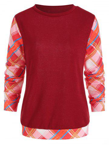 Long Sleeve Checked Panel Top