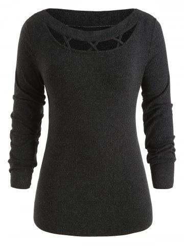 Cross Hollow Out Plus Size Knit Sweater