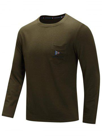 Casual Embroidery Chest Pocket Long Sleeve T-shirt