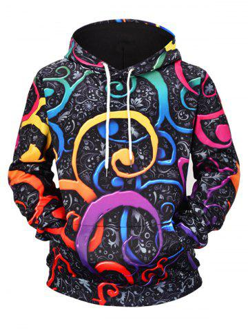 Graffiti Floral Print Pouch Pocket Pullover Hoodie