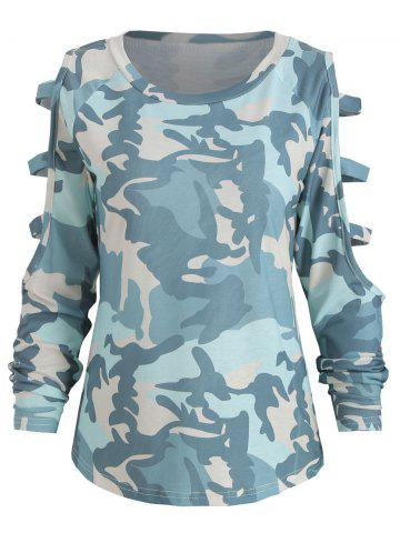 Camo Print Cut Out Long Sleeve Top