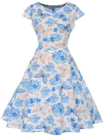 Butterfly and Flower Print A Line Vintage Dress