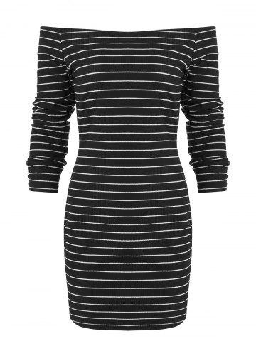 Off The Shoulder Arc Hem Striped Dress