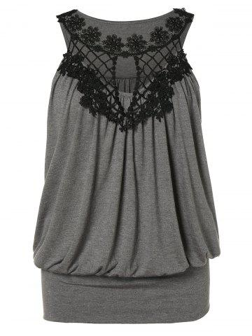 c94857a1eb Plus Size Crochet Panel Hollow Out Tank Top