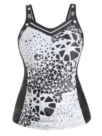 Padded Plus Size Abstract Print Tank Top